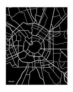 Milan City Art Map Print / Italy Poster Custom Wall Decor Graphic Illustration / Digital Print / Choose your color Milan Map, Milan City, Graphic Pattern, City And Colour, City Map Poster, Map Tattoos, City Illustration, Map Design, City Maps