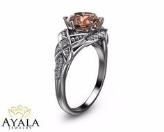 14K White Gold Morganite Ring Unique Engagement ring Leaf Ring Peach Morganite #AyalaJewelry #SolitairewithAccents