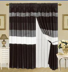 MODERN BLACK / WHITE / GREY FAUX SILK Taffeta Window Curtain / Drape Set with Sheer Backing 120-by-84-Inch