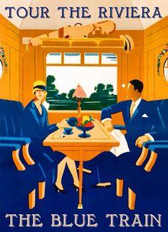 Tour the Riviera vintage train travel poster