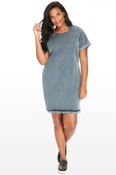 Plus Size Denim Dreamer Shift Dress | Fashion To Figure $32.90