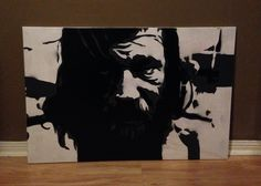 Portrait of homeless man  Spray paint on canvas Available through Etsy