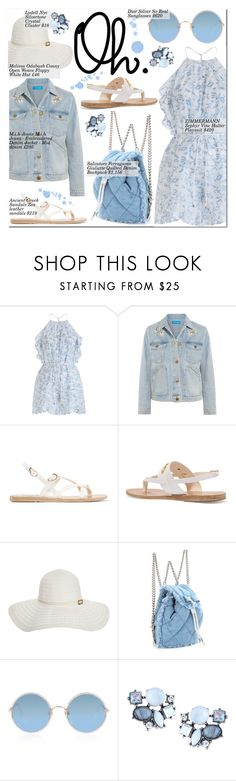 """Tell me will you love me tomorrow Like you love me tonight"" by nindi-wijaya ❤ liked on Polyvore featuring Zimmermann, M.i.h Jeans, Ancient Greek Sandals, Melissa Odabash, Salvatore Ferragamo, Sunday Somewhere, Lydell NYC, denimjackets and WardrobeStaples"