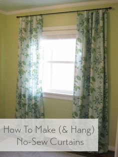 Sewing Curtains DIY no-sew curtains for the nursery plus safety tips for curtains and blinds in kids' rooms. Would love to make these in a pretty blue gingham! - How To Make No-Sew Curtains (And Make A Window Look Way Bigger) No Sew Curtains, Rod Pocket Curtains, Panel Curtains, Custom Curtains, Curtain Panels, Curtain Tutorial, Homemade Curtains, Pinterest Crafts, Young House Love