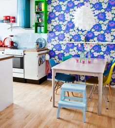 Funky #blue #wallpaper in the kitchen