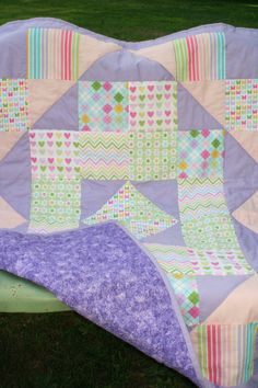 Purple and Pink Baby Quilt by BlissfulFiber on Etsy, $36.00                                                 youtube to mp3