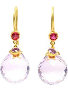MARIE HELENE DE TAILLAC - Moon & Star 18K Yellow Gold, Amethyst Earrings