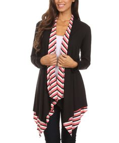 Take a look at this Coral & Black & White Stripe-Contrast Open Cardigan today!