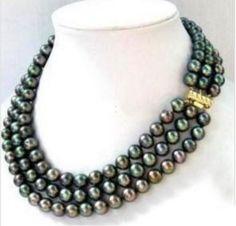 Three Beautiful Rows of AAA 7 - 8 mm Black Akoya Pearl Necklace