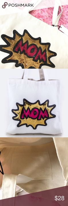 """Sequin Mom canvas tote bag Sequin MOM canvas tote bag  Super cute sequin details❤️  * Length - 13"""" * Width - 1"""" * Height - 13.5"""" / 23.5"""" With Handle * Canvas Material NWOT     🛍BUNDLE & SAVE 15%🛍 ✨TOP RATED SELLER✨ 📦SAME DAY OR NEXT DAY SHIPPING!📦 ❤REASONABLE OFFERS WELCOME❤ ❌NO TRADES OR PAYPAL❌ Bags Totes"""