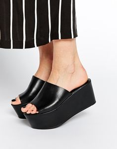 ASOS HASLEMERE Leather Muled Wedges $63