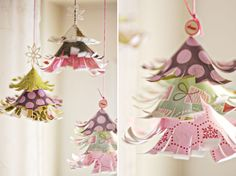 Christmas project for next year! How cute are these hanging paper trees?!