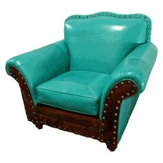 Great Blue Heron turquoise leather club chair available at ...