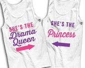 She's The Drama Queen, She's The Princess Best Friends Tanks (Pink & Purple)!
