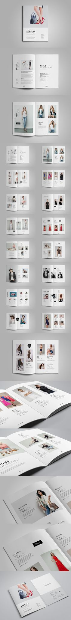 Product Catalog Template InDesign INDD - 36 Unique Pages, A4 & Letter sizes #lookbook