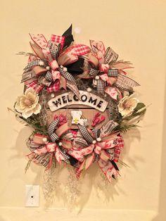 Welcome, Louisiana Wreath, Fleur De Lis, Cajun Wreath, Crawfish, Home Wreath, Door Hanger, - free shipping