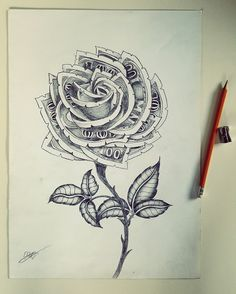 Discover recipes, home ideas, style inspiration and other ideas to try. Rose Stem Tattoo, Money Rose Tattoo, Rose Drawing Tattoo, Tattoo Design Drawings, Tattoo Sketches, Tattoo Designs, Hand Tattoos, Tribal Arm Tattoos, Neue Tattoos