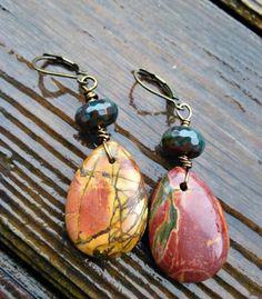 Teardrop Jasper & Quartz gemstone dangle earrings. Boho jewelry | mckeejewelrydesigns - andria mckee, McKee Jewelry,  McKee Jewelry Designs,   hand made jewelry, jewellery