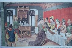 15th C Banquet, young woman presents precious game meats to nobles.  Game is protected by royal decree.  Note credenza