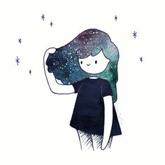 "mywhisperedcolors: "" dream hair by Caro Martini "" Cool Art Drawings, Colorful Drawings, Art Drawings Sketches, Disney Drawings, Easy Drawings, Kawaii Doodles, Portrait Art, Doodle Art, Cute Art"