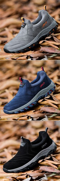 US$42.92 Men Slip On Shock Absorption Non-slip Outdoor Hiking Casual Sneakers#sneakers #shoes #fitness #outdoor