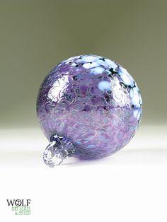 Blown Glass Ornament Suncatcher Ball Amethyst Ice Blossom. $26.00, via Etsy.