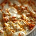 Buffalo Chicken Dip:   Cook And Shred 1 Lb Chicken.  Mix 1.5 Cups Frank's Red Hot Sauce With Shreded Chicken.  In Ungreased Baking Dish, Spread 8 Oz Cream Cheese.  Add Buffalo Chicken On Top Of Cream Cheese.  Sprinkle 1 C Mexican Blend Cheese.  Drizzle 1 C Ranch Dressing.  Bake At 350 For 20-25 Minutes, Until Dip Is Melted And Bubbling.  Serve With Chips Or Veggies!  Yum!
