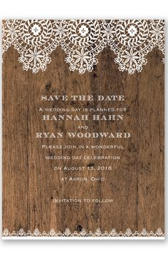 Barnwood and Lace Save the Date by David's Bridal