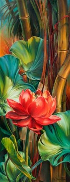 Tropical Awakening by Vie Dunn-Harr, Beautiful painting of tropical plants. Art Floral, Tropical Art, Tropical Plants, Tropical Vibes, Silk Painting, Painting Flowers, Draw Flowers, Flower Paintings, Painting Art