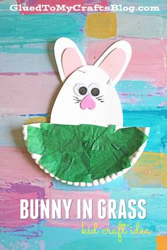Easter Bunny In Grass - Paper Plate Kid Craft Idea
