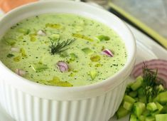 This soup blends fresh cucumber with healthy Greek yogurt & flavorful herbs into a refreshing appetizer summer lunch or meatless meal! Cucumber Soup Cold, Cucumber Soup Recipe, Gazpacho Recipe, Tomato Soup Recipes, Healthy Dessert Recipes, Vegetarian Recipes, Soup Appetizers, Healthy Appetizers, Pizza Soup