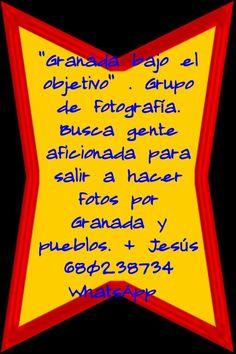 """""""Granada bajo el objetivo"""" . Grupo de fotografía. Busca gente aficionada para salir a hacer fotos por Granada y pueblos. Interesados contactar con Jesús  680238734 WhatsApp  Más eventos en Granada https://www.facebook.com/groups/extragrupoabierto/ Mario +34 616453927 WhatsApp Info@extragrupo.org"""