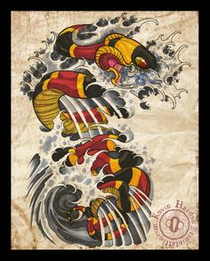 Coral Snake Half Sleeve by KevinHarden on DeviantArt Japanese Snake Tattoo, Japanese Sleeve Tattoos, Japan Tattoo Design, Coral Snake, Asian Artwork, Snake Art, Asian Tattoos, Oriental Tattoo, Irezumi Tattoos
