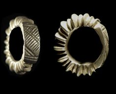 Africa   Hair adornment rings from the Fulani people of Mali   Silver.