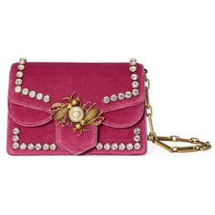 Gucci Broadway Velvet Mini Bag ($2,890) ❤ liked on Polyvore featuring bags, handbags, raspberry, gucci handbags, gucci purse, flap purse, velvet handbags and glitter handbags