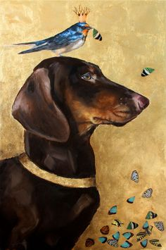 "Could inspire a great tattoo....Clair Hartmann ""King Martin""  12"" x 24""  Mixed media  [Noble Brown and Tan Dachshund, Barn Swallow, Purple Martin with Butterfly Wings, Metal Leaf, Imaginary Original Painting]"
