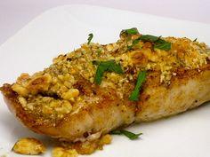 Hazelnut crusted sea bass... I think I will serve it with a mango salsa. Yum yum yum.