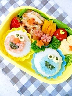 ☆Elmo and a Cookie monster bento