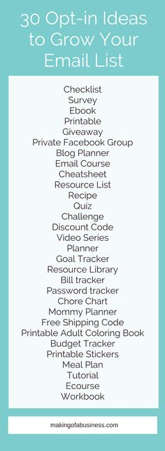 30 Opt in ideas to Start and Grow Your Email list.
