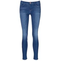 J Brand 'Super Skinny' whiskered jeans ($215) ❤ liked on Polyvore featuring jeans, pants, blue, stretch blue jeans, j brand jeans, skinny leg jeans, stretch denim jeans and super stretchy skinny jeans