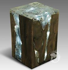 "Ch 01800.001 ""ice"" Stool Resin Teak 30x30x45cm Oil Photo, Detailed ..."