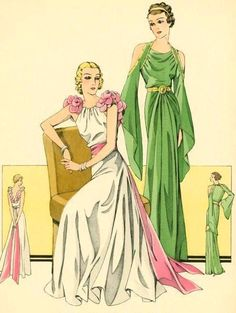 1930's evening dress fashion illustration. I LOVE the green one! New York Public Library