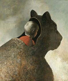 "The zoo welcomed them."" He said softly."" She questioned. ""To protect!"" - Srinivas Aravind Painting by Samuli Heimonen - Visual Artist Art And Illustration, Illustrations Posters, Modern Art, Contemporary Art, Non Plus Ultra, Love Painting, Surreal Art, Cat Art, Folk Art"