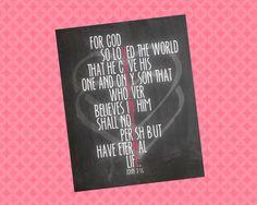 For God So Loved The World/Valentine John 316 by dearkatehandmade, $5.00