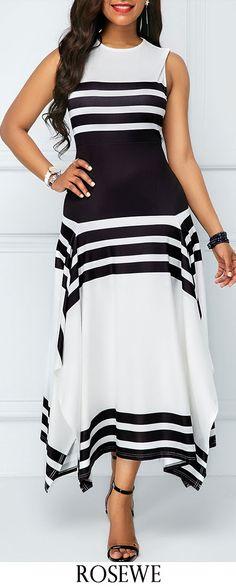 Asymmetric Hem Stripe Print Sleeveless Midi Dress.#Rosewe#dress