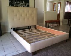 king headboard and bed frame tan linen upholstered or cal king - Diy Upholstered Bed Frame