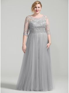 A-Line/Princess Scoop Neck Floor-Length Beading Appliques Lace Sequins Zipper Up Sleeves 3/4 Sleeves No Silver Plus Mother of the Bride Dress