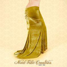 Light Olive Green Velvet Tribal Fusion Bellydance Skirt with train. Buy here: https://www.etsy.com/it/listing/386569198/light-olive-green-velvet-bellydance?ref=shop_home_active_4