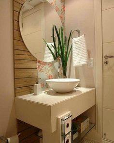 Lavabo lindíssimo. 😍😍 www.eutambemdecoro.com.br Foto vi Very Small Bathroom, Home Decor Inspiration, Bathroom Cabinetry, Decor, Small Bathroom, Bathroom Interior Design, Bathroom Decor, Guest Bathroom Small, Home Decor