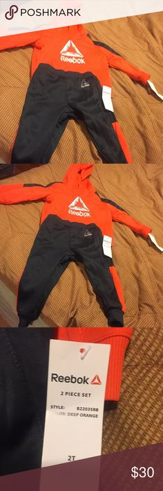 Size2T Reebok SweatSuit BNWT🏀⚽️🏈🏀⚽️🏐This SweatSuit is orange and gray...the Size is 2T!!!  It's a 2 piece set!! hoodie and sweats!! Reebok Matching Sets